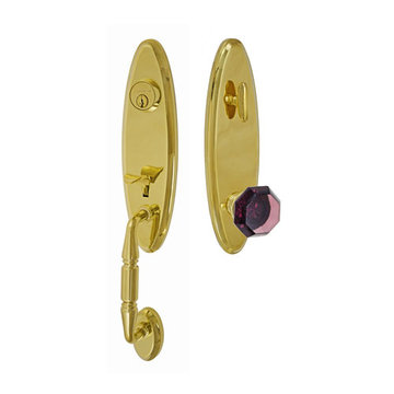 Fusion Elite Renwood One Piece Interior Thumblatch To Victorian Violet Glass Knob