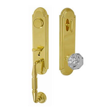 Fusion Elite Yorkshire One Piece Dummy Interior Thumblatch To Victorian Clear Glass Knob