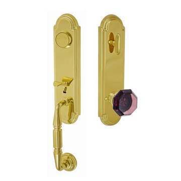 Fusion Elite Yorkshire One Piece Dummy Interior Thumblatch To Victorian Violet Glass Knob