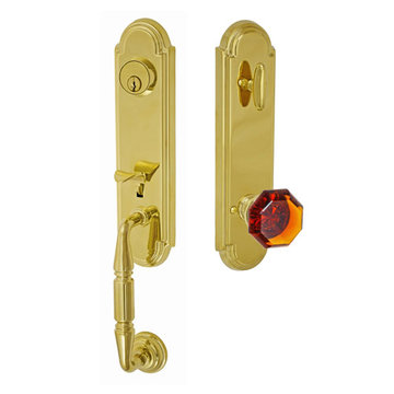 Fusion Elite Yorkshire One Piece Interior Thumblatch To Victorian Amber Glass Knob