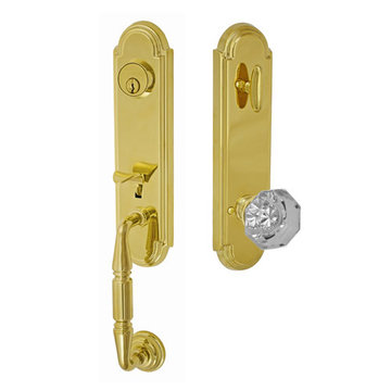 Fusion Elite Yorkshire One Piece Interior Thumblatch To Victorian Clear Glass Knob