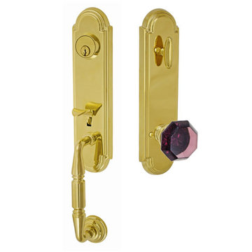 Fusion Elite Yorkshire One Piece Interior Thumblatch To Victorian Violet Glass Knob