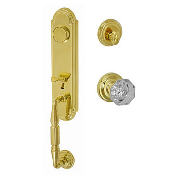Fusion Elite Yorkshire Two Piece Dummy Interior Thumblatch To Victorian Clear Glass Knob
