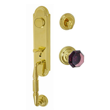 Fusion Elite Yorkshire Two Piece Dummy Interior Thumblatch To Victorian Violet Glass Knob
