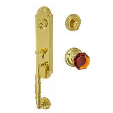 Fusion Elite Yorkshire Two Piece Interior Thumblatch To Victorian Amber Glass Knob