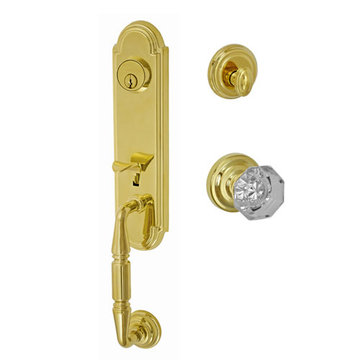 Fusion Elite Yorkshire Two Piece Interior Thumblatch To Victorian Clear Glass Knob