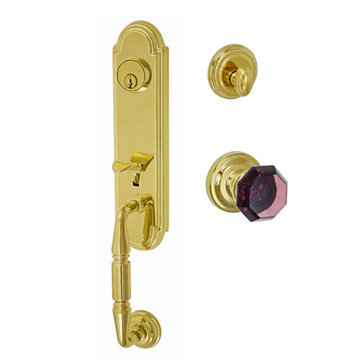 Fusion Elite Yorkshire Two Piece Interior Thumblatch To Victorian Violet Glass Knob