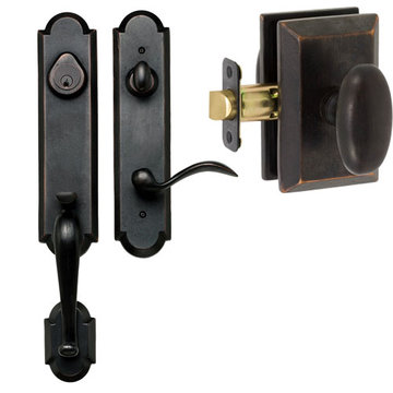 Delaney Designer Series Castille Dummy Thumblatch To Rosa Knob Entry Set
