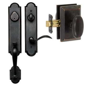 Delaney Designer Series Castille Single Cylinder Thumblatch To Rosa Knob Entry Set