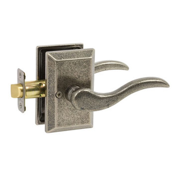 Delaney Designer Series Ronda Square Backplate Entry Lever Set