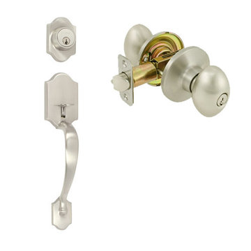 Delaney Ezset Imperial Residential Double Cylinder Thumblatch To Ruby Knob Entry Set