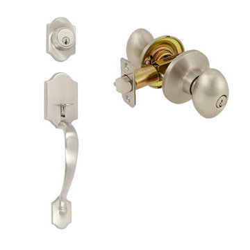 Delaney Ezset Imperial Residential Single Cylinder Thumblatch To Ruby Knob Entry Set