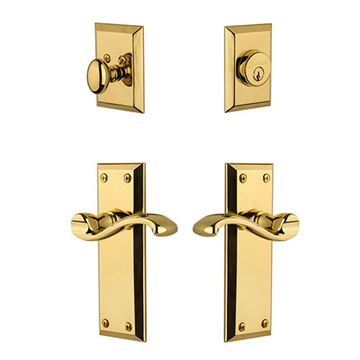 Grandeur Fifth Avenue Entry Set with Portofino Lever - Keyed Alike
