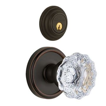 Grandeur Georgetown Double Dummy Interior Door Set With Crystal Fontainebleau Knob