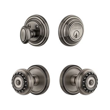Grandeur Georgetown Single Cylinder Entry Set With Parthenon Knob - Keyed Differently