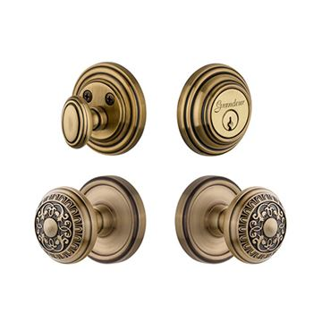 Grandeur Georgetown Single Cylinder Windsor Knob Entry Set - Keyed Alike