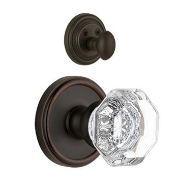 Grandeur Georgetown Single Dummy Interior Door Set With Crystal Chambord Knob