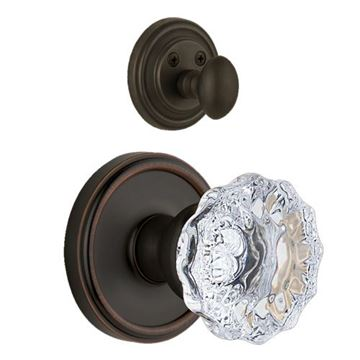 Grandeur Georgetown Single Dummy Interior Door Set With Crystal Fontainebleau Knob