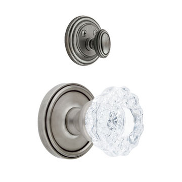 Grandeur Georgetown Single Dummy Interior Door Set With Crystal Versailles Knob