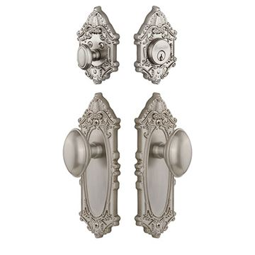 Grandeur Grande Victorian Entry Set With Eden Prairie Knob - Keyed Differently