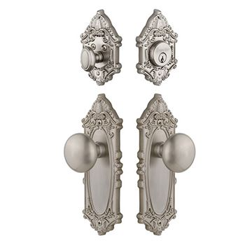 Grandeur Grande Victorian Entry Set With Fifth Avenue Knob - Keyed Alike