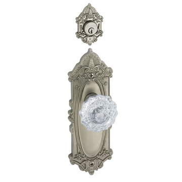 Grandeur Grande Victorian Single Cylinder Interior Half Only With Crystal Fontainebleau Knob