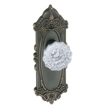 Grandeur Grande Victorian Single Dummy Interior Door Set With Crystal Versailles Knob