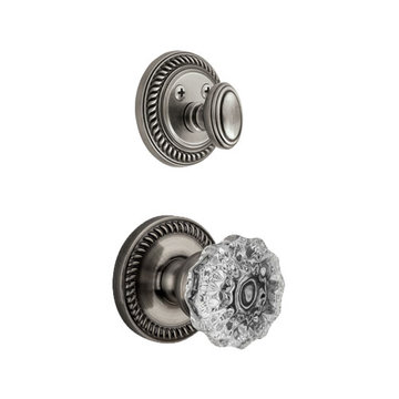 Grandeur Newport Double Cylinder Interior Half Only With Crystal Fontainebleau Knob