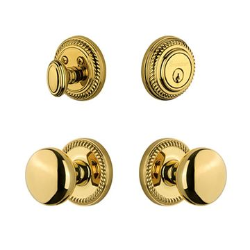 Grandeur Newport Entry Set With Fifth Avenue Knob - Keyed Differently