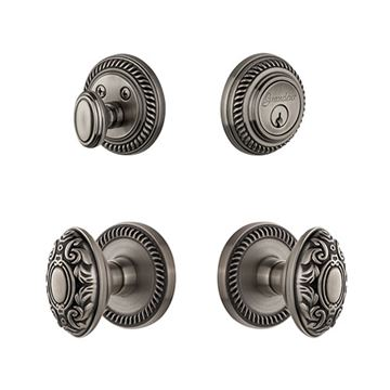 Grandeur Newport Entry Set With Grande Victorian Knob - Keyed Alike