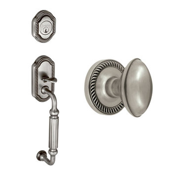 Grandeur Newport Fluted Grip Thumblatch To Eden Prairie Knob Entry Set