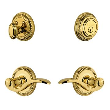 Grandeur Newport Single Cylinder Entry Set With Bellagio Lever - Keyed Alike