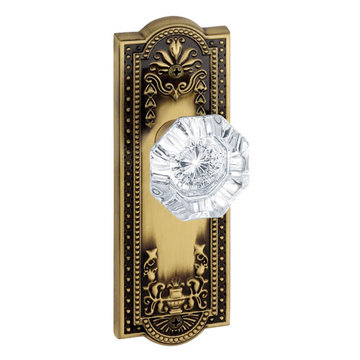 Grandeur Parthenon Privacy Interior Door Set With Crystal Chambord Knob