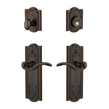 Grandeur Parthenon Single Cylinder Entry Set With Bellagio Lever - Keyed Alike