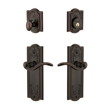 Grandeur Parthenon Single Cylinder Entry Set With Bellagio Lever - Keyed Differently