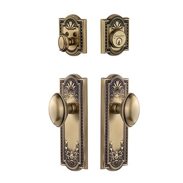 Grandeur Parthenon Single Cylinder Entry Set With Eden Prairie Knob - Keyed Alike
