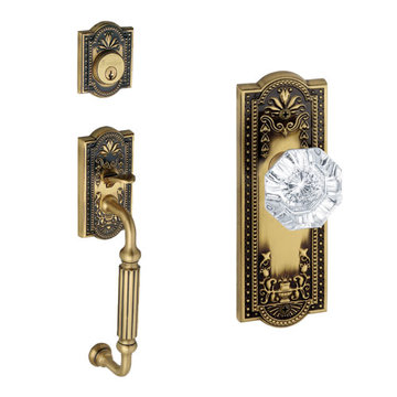 Grandeur Parthenon Fluted Grip Thumblatch Crystal Chambord Knob Entry Set