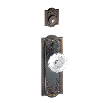 Grandeur Parthenon Single Cylinder Interior Half Only With Crystal Fontainebleau Knob