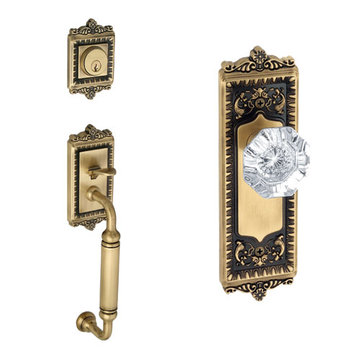 Grandeur Windsor C-Grip Thumblatch To Crystal Chambord Knob Entry Set