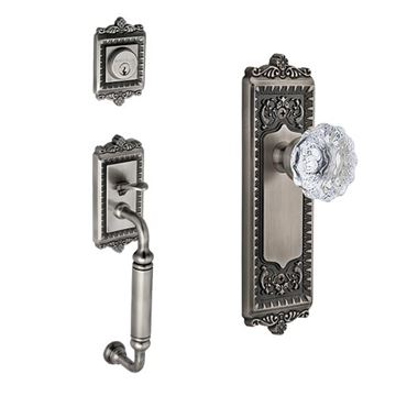 Grandeur Windsor C-Grip Thumblatch To Crystal Fontainebleau Knob Entry Set