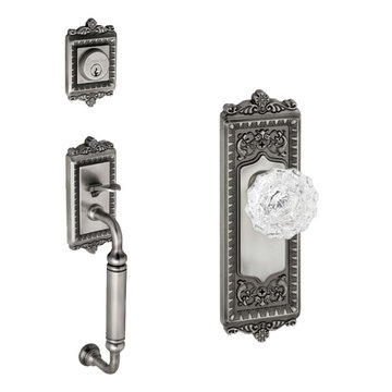 Grandeur Windsor C-Grip Thumblatch - Crystal Versailles Knob Entry Set
