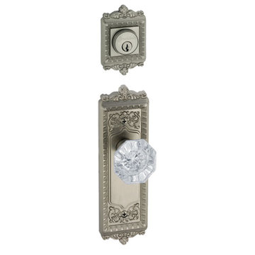 Grandeur Windsor Double Cylinder Interior Half Only With Crystal Chambord Knob