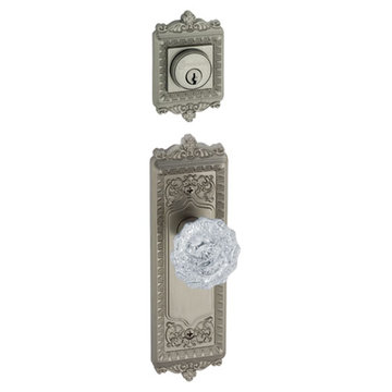 Grandeur Windsor Double Cylinder Interior Half Only With Crystal Versailles Knob