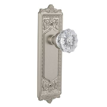 Grandeur Windsor Double Dummy Interior Door Set With Crystal Chambord Knob