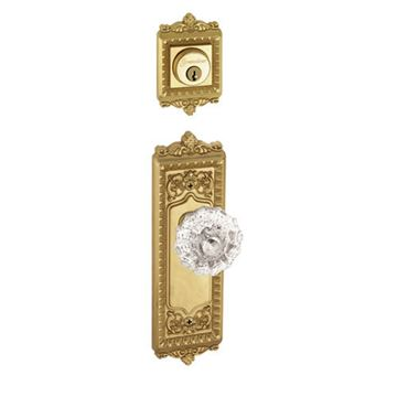 Grandeur Windsor Double Dummy Interior Door Set With Crystal Fontainebleau Knob