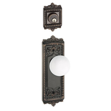 Grandeur Windsor Double Dummy Interior Door Set With Hyde Park Knob