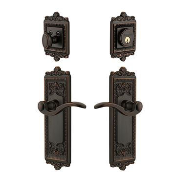 Grandeur Windsor Entry Door Set With Bellagio Lever - Keyed Alike