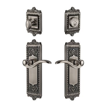 Grandeur Windsor Entry Door Set With Bellagio Lever - Keyed Differently