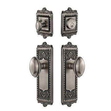 Grandeur Windsor Entry Door Set With Eden Prairie Knob - Keyed Alike