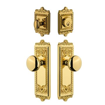 Grandeur Windsor Entry Door Set With Fifth Avenue Knob - Keyed Alike